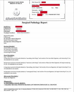 تقرير يبين تفاصيل مريض القولون التقرحي