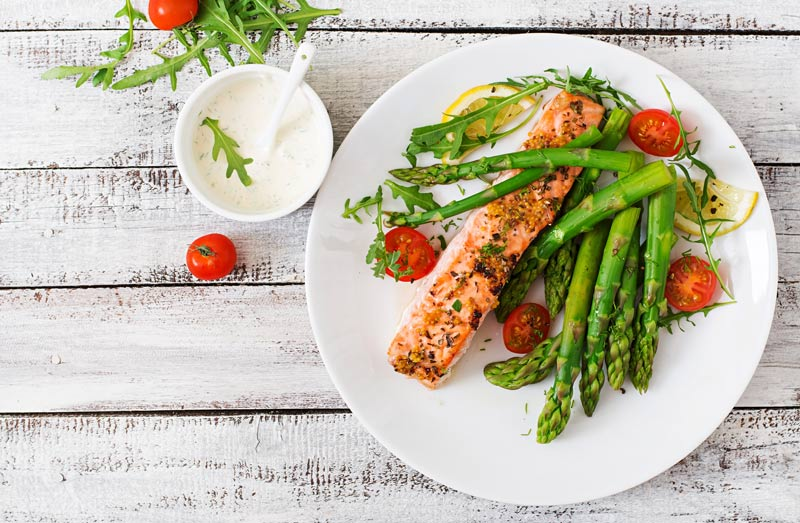 Salmon Steak with Vegetables for Depression Patients