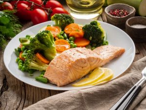 salmon steak with vegetables for anxiety
