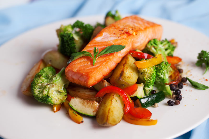 Salmon Steak with Vegetables for Multiple Sclerosis.